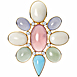 Ladies, 18K & Platinum, & Multi-color Cabochon Brooch Rose Quartz, White Coral, Chalcedony, Green Beryl, Turquoise.