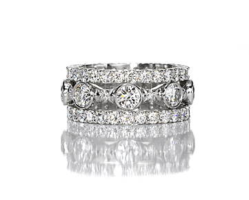 Leverington Handmade Platinum & Diamond Ladies Wedding Ring Band Stack