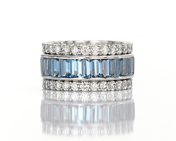 Leverington Handmade Ladies Platinum, Aquamarine & Diamond Wedding Ring Stack Set Band